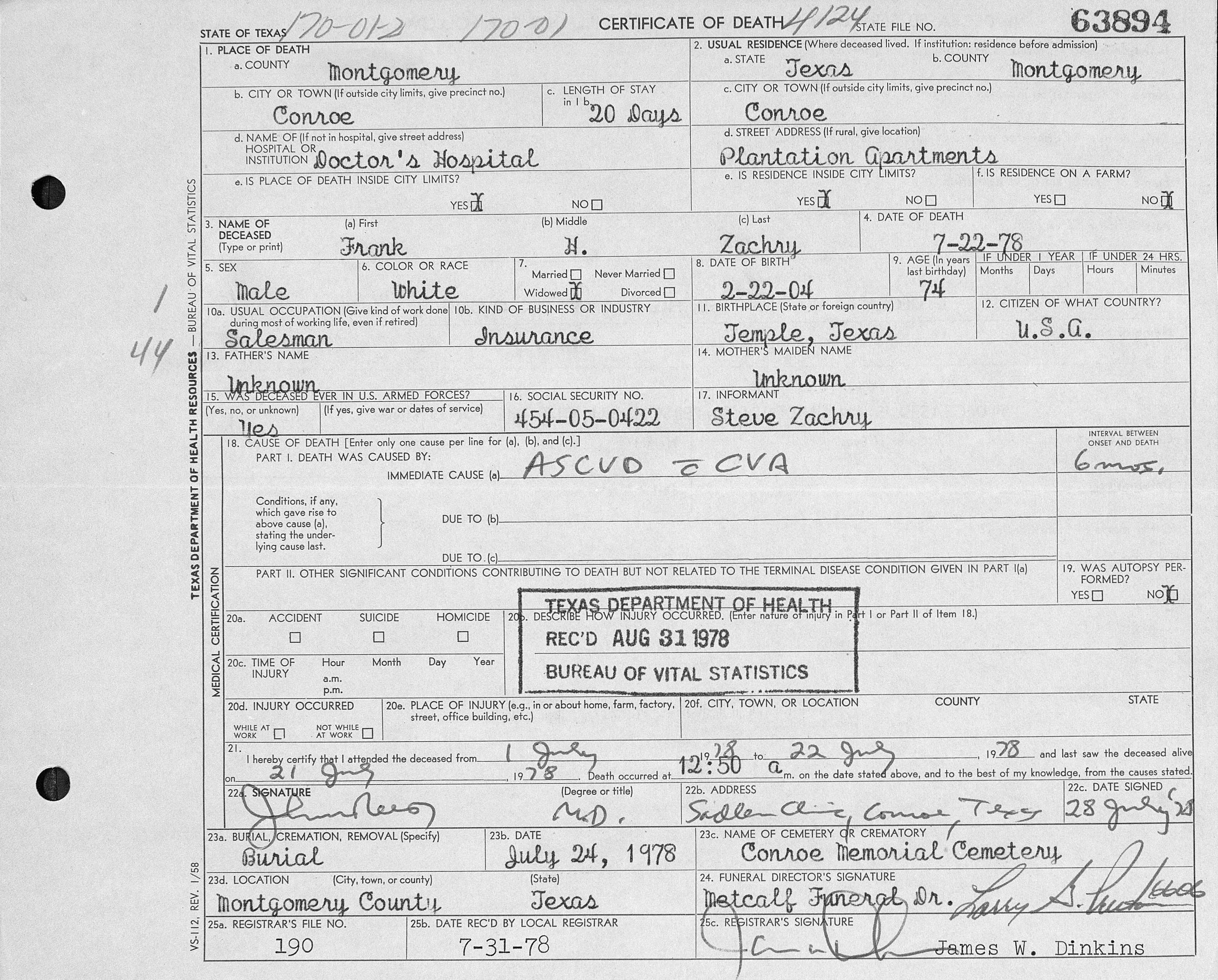 Conroe memorial cemetery montgomery county texas collection frank h zachry death certificate texas deaths 1977 1986 xflitez Images