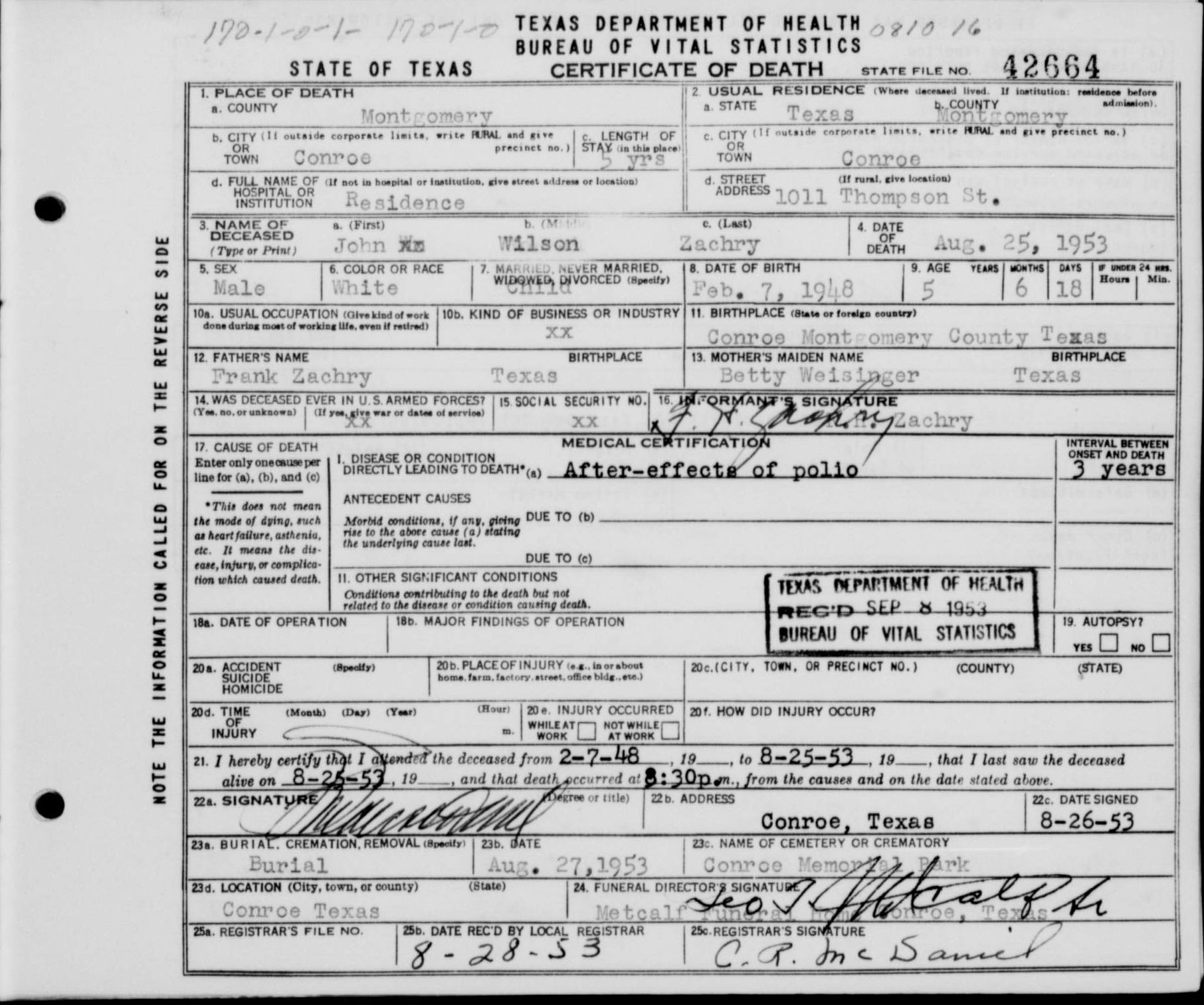 Conroe memorial cemetery montgomery county texas collection john wilson zachry death certificate texas deaths 1890 1976 xflitez Images