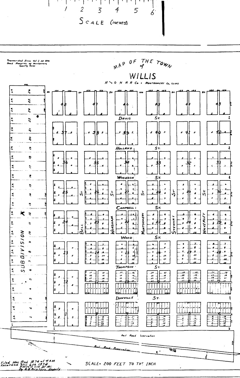1870 Map Of Texas.Town Of Willis Montgomery County Texas